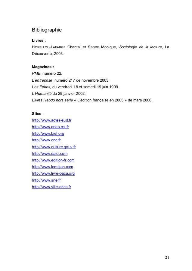 BibliographieLivres :HORELLOU-LAFARGE Chantal et SEGRE Monique, Sociologie de la lecture, LaDécouverte, 2003.Magazines :PM...