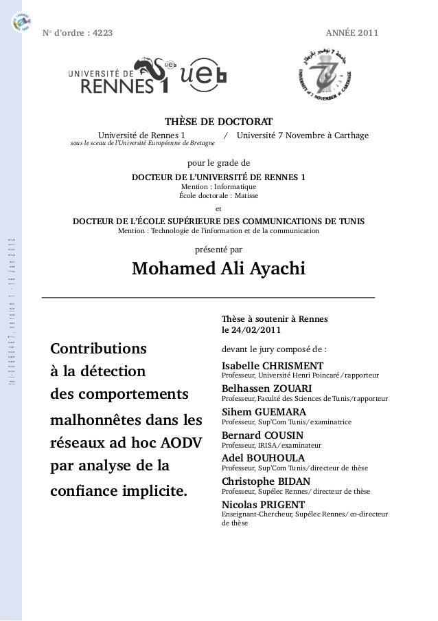 Nod'ordre : 4223 ANNÉE 2011THÈSE DE DOCTORATUniversité de Rennes 1 / Université 7 Novembre à Carthagesous le sceau de l'Un...