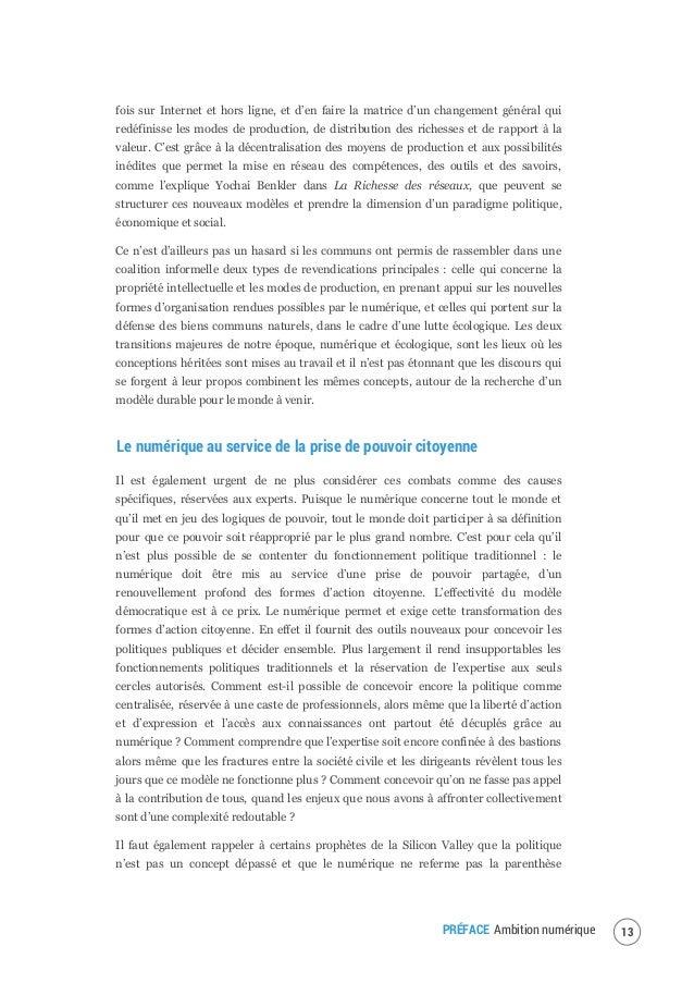 """PRÉFACE Ambition numérique14 démocratique au profit d'un """"solutionnisme numérique"""", qui consiste à traiter tout problème s..."""