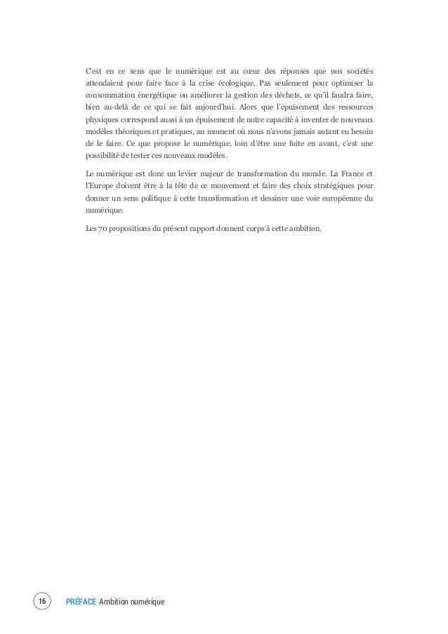 Pour une politique française et européenne de la transition numérique.
