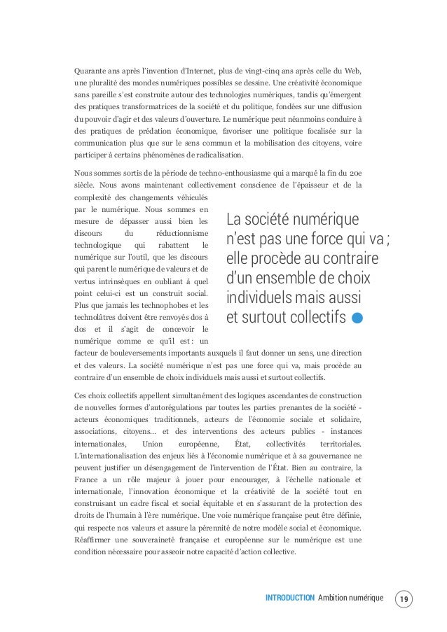 INTRODUCTION Ambition numérique 21 Au terme de la période initiale de consultation, la publication sur la plateforme des s...