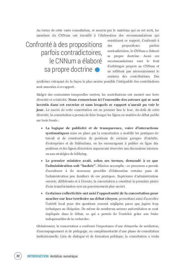 INTRODUCTION Ambition numérique24 Les valeurs de la société numérique : une société solidaire, ouverte et fondée sur les d...