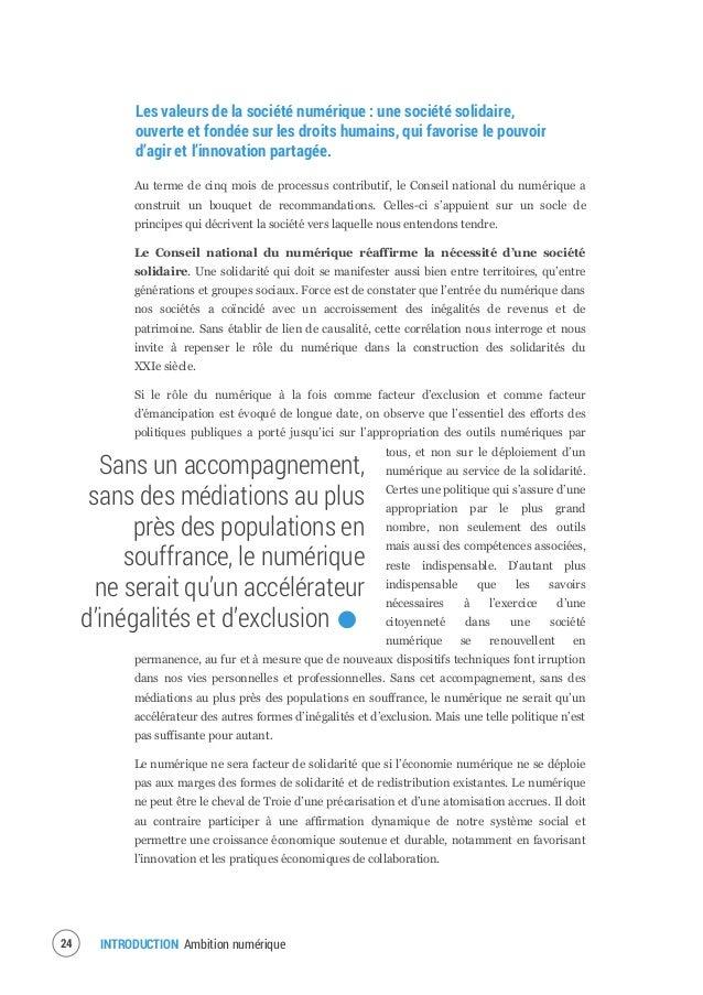 INTRODUCTION Ambition numérique26 L'augmentation de la capacité d'agir des individus n'a de sens que si elle est accompagn...