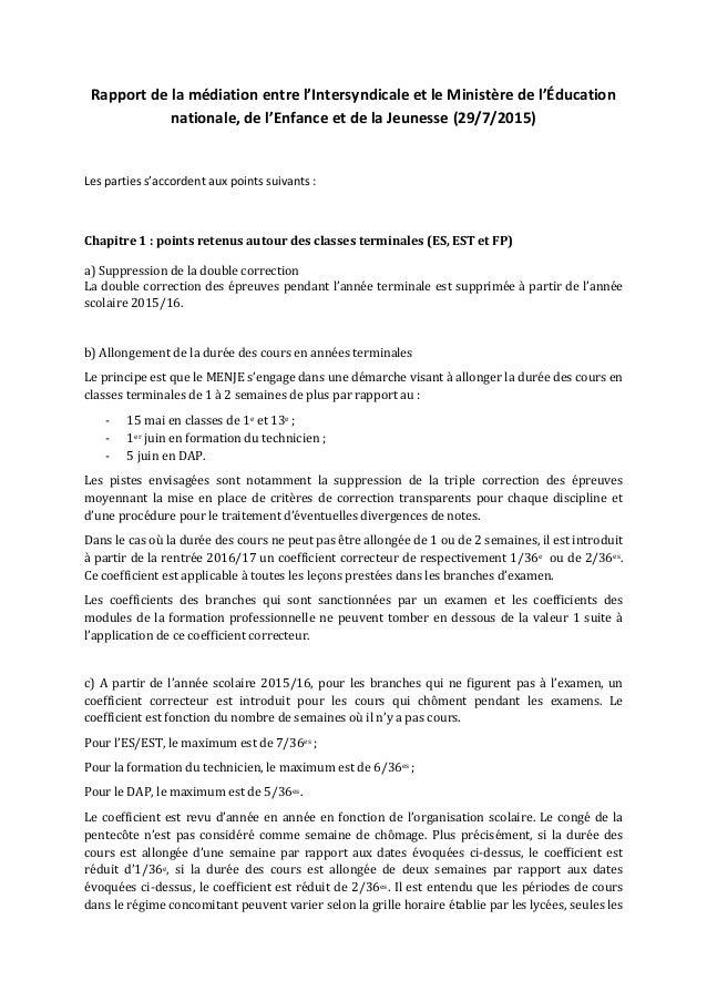 Rapport de la médiation entre l'Intersyndicale et le Ministère de l'Éducation nationale, de l'Enfance et de la Jeunesse (2...