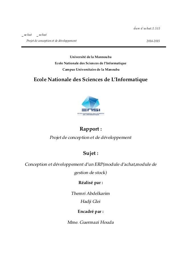 ¡dure d9—™h—tFPFSIS •—™h—t •—™h—t Projet de conception et de développement 2014-2015 Université de la Mannouba Ecole Natio...