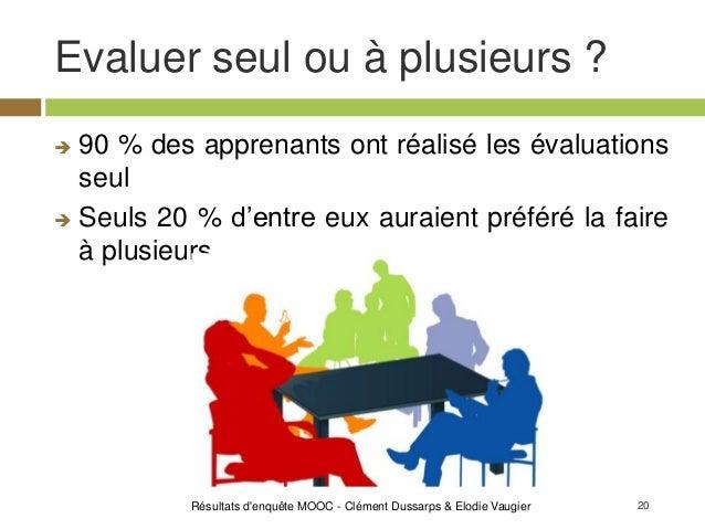 20 Evaluer seul ou à plusieurs ? Résultats d'enquête MOOC - Clément Dussarps & Elodie Vaugier  90 % des apprenants ont ré...