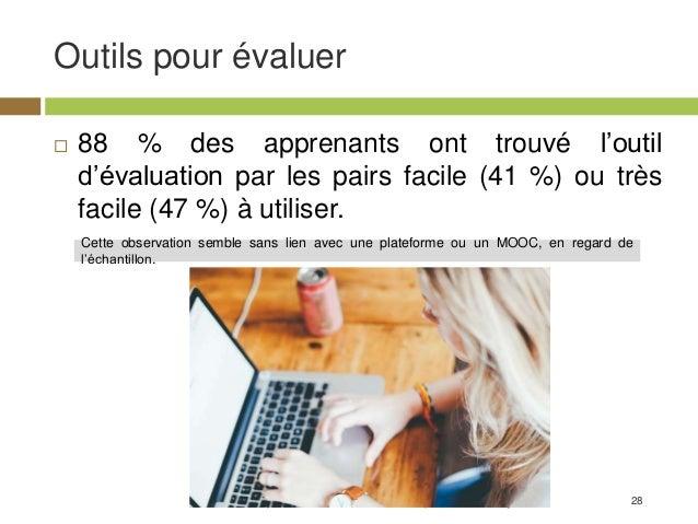 28 Outils pour évaluer Résultats d'enquête MOOC - Clément Dussarps & Elodie Vaugier  88 % des apprenants ont trouvé l'out...