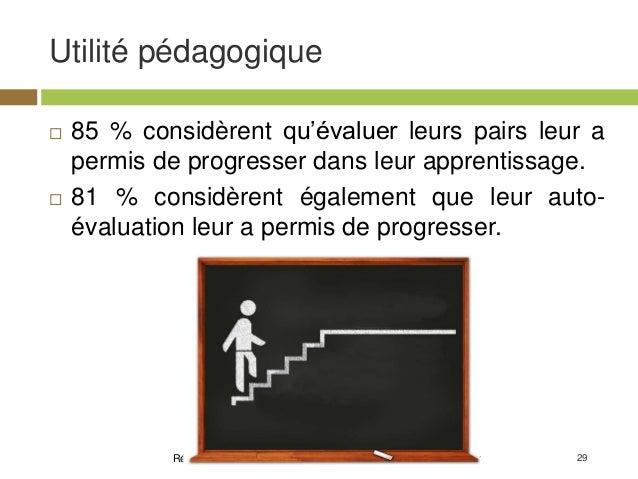 29 Utilité pédagogique Résultats d'enquête MOOC - Clément Dussarps & Elodie Vaugier  85 % considèrent qu'évaluer leurs pa...