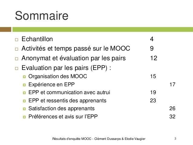 3 Sommaire Résultats d'enquête MOOC - Clément Dussarps & Elodie Vaugier  Echantillon 4  Activités et temps passé sur le ...