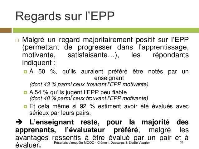 33 Regards sur l'EPP Résultats d'enquête MOOC - Clément Dussarps & Elodie Vaugier  Malgré un regard majoritairement posit...