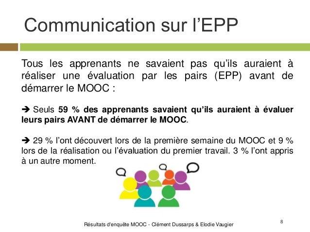 8 Communication sur l'EPP Résultats d'enquête MOOC - Clément Dussarps & Elodie Vaugier Tous les apprenants ne savaient pas...