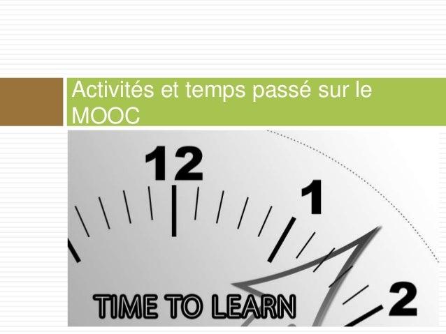 Activités et temps passé sur le MOOC
