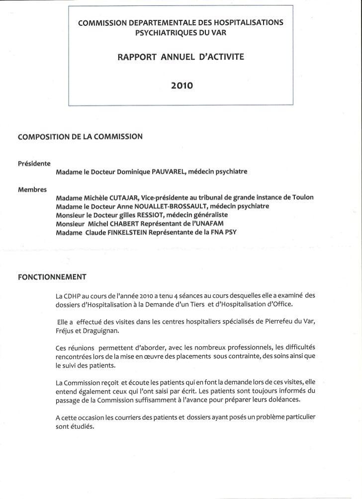 Rapport 2010 CDHP du Var