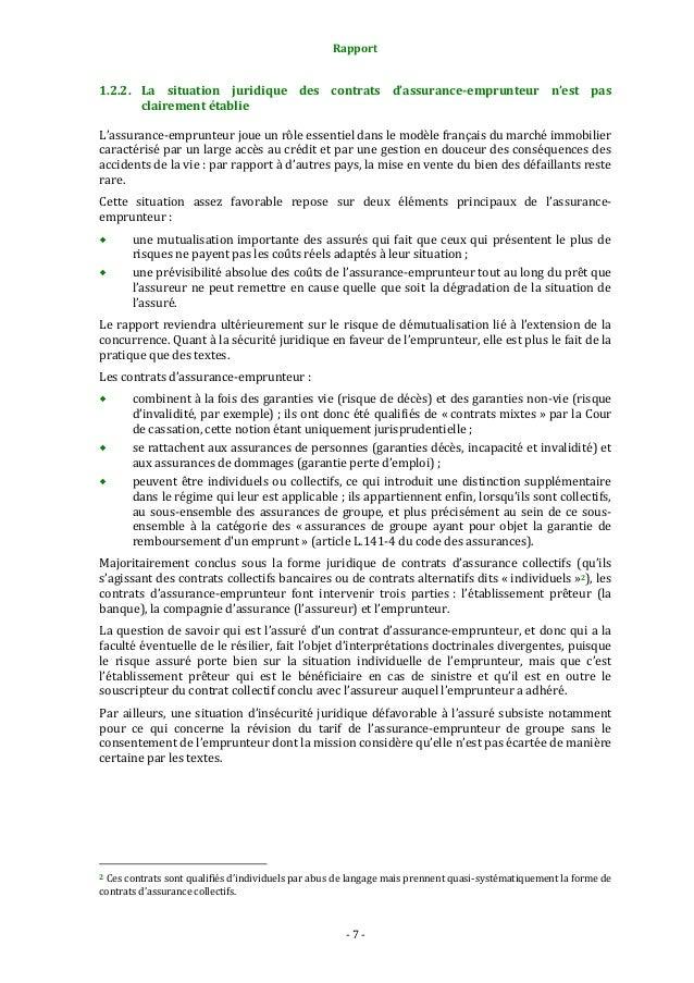 Rapport  1.2.2. La situation juridique des contrats d'assurance-emprunteur n'est pas clairement établie L'assurance-emprun...