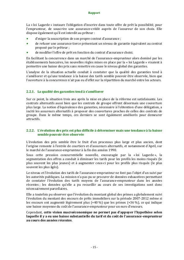 Rapport  La « loi Lagarde » instaure l'obligation d'inscrire dans toute offre de prêt la possibilité, pour l'emprunteur, d...