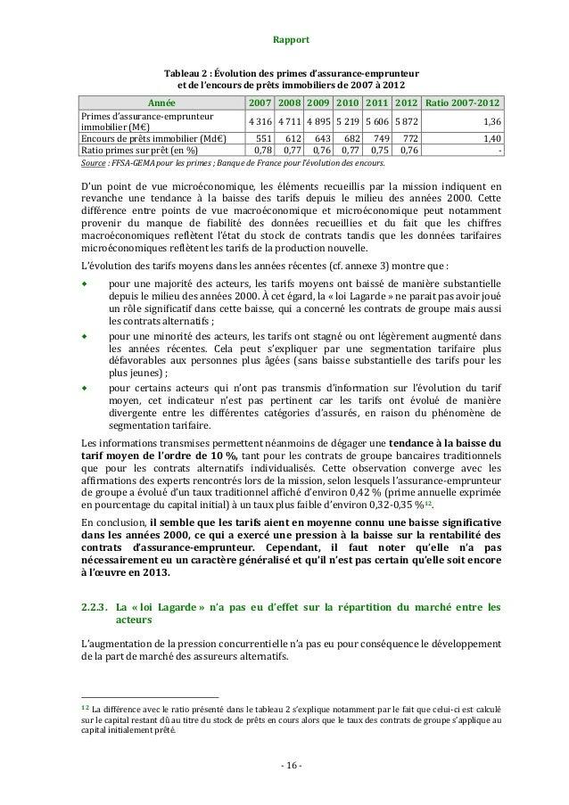 Rapport Tableau 2 : Évolution des primes d'assurance-emprunteur et de l'encours de prêts immobiliers de 2007 à 2012 Année ...