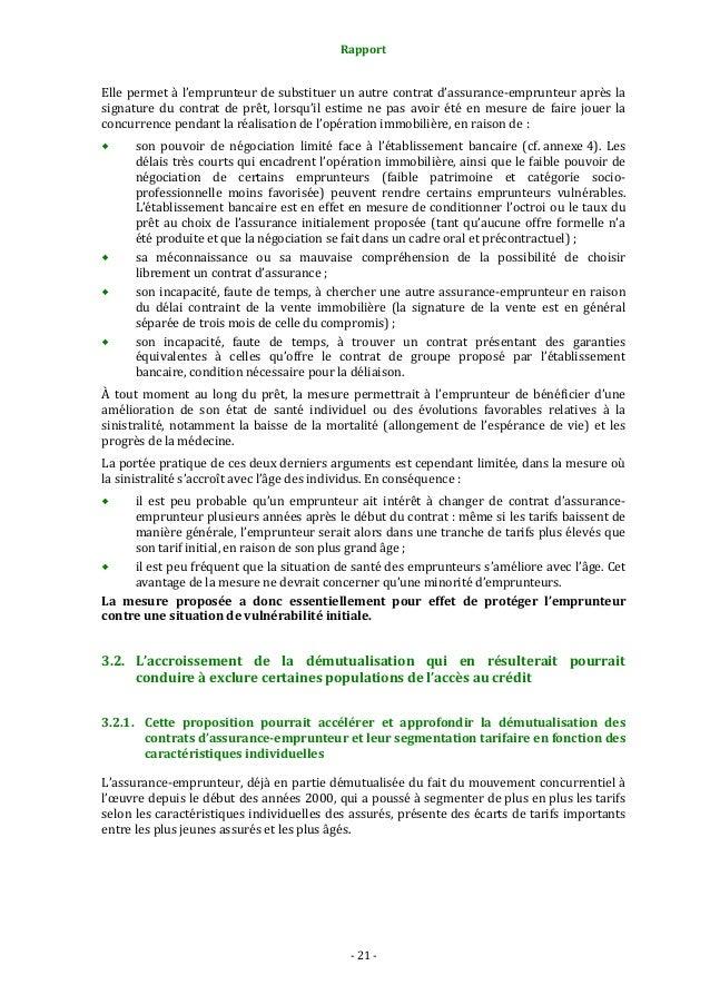Rapport  Elle permet à l'emprunteur de substituer un autre contrat d'assurance-emprunteur après la signature du contrat de...