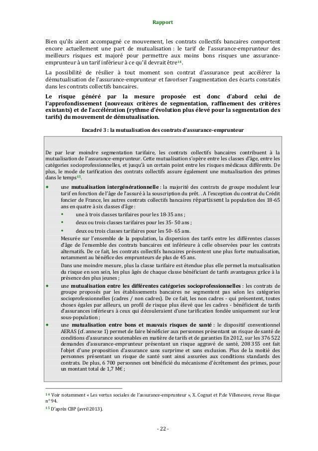Rapport  Bien qu'ils aient accompagné ce mouvement, les contrats collectifs bancaires comportent encore actuellement une p...