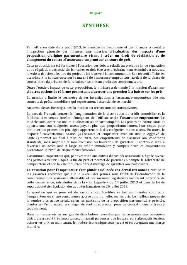 Rapport  SYNTHESE  Par lettre en date du 2 août 2013, le ministre de l'économie et des finances a confié à l'Inspection gé...
