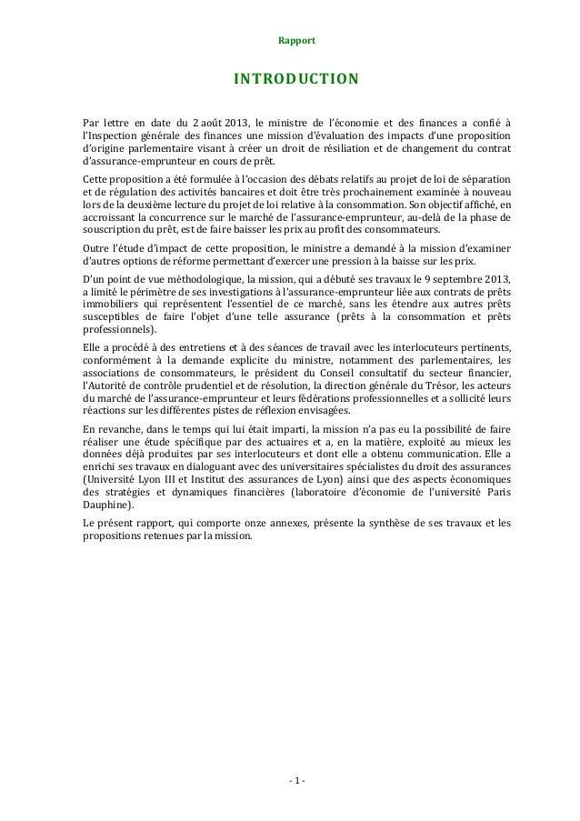 Rapport  INTRODUCTION Par lettre en date du 2 août 2013, le ministre de l'économie et des finances a confié à l'Inspection...