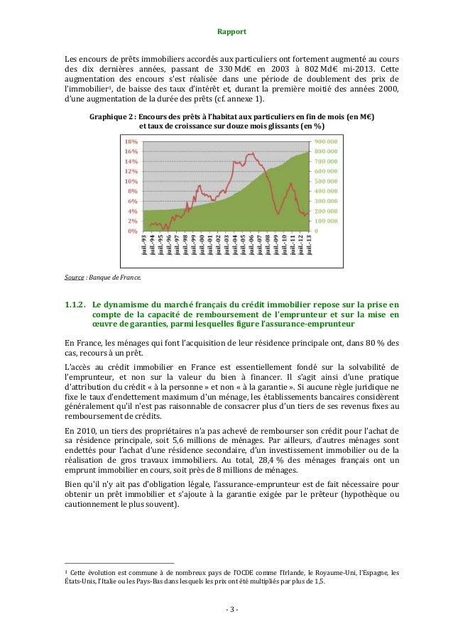 Rapport  Les encours de prêts immobiliers accordés aux particuliers ont fortement augmenté au cours des dix dernières anné...