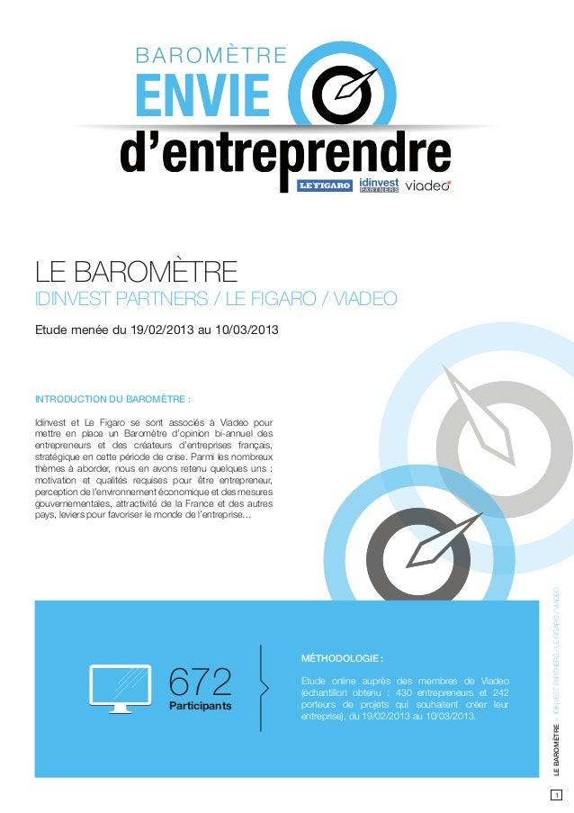 LE BAROMÈTREIDINVEST PARTNERS / LE FIGARO / VIADEOEtude menée du 19/02/2013 au 10/03/2013INTRODUCTION DU BAROMÈTRE :Idinve...