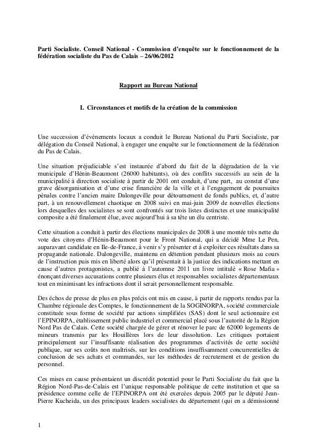 Parti Socialiste. Conseil National - Commission d'enquête sur le fonctionnement de lafédération socialiste du Pas de Calai...