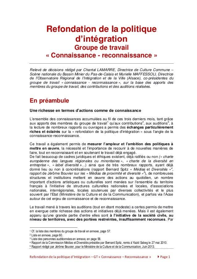 Refondation de la politique d'intégration Groupe de travail « Connaissance - reconnaissance » Relevé de décisions rédigé p...
