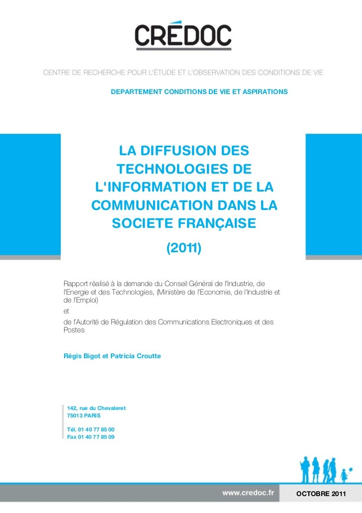 -1-                  DEPARTEMENT CONDITIONS DE VIE ET ASPIRATIONS              LA DIFFUSION DES             TECHNOLOGIES D...
