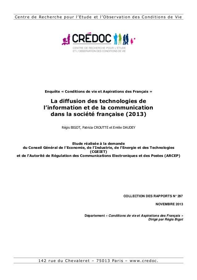 Centre de Recherche pour l'Etude et l'Observation des Conditions de Vie  Enquête « Conditions de vie et Aspirations des Fr...