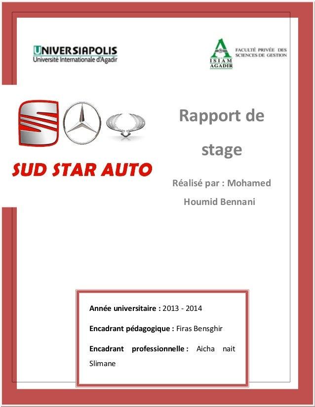 Rapport de stage Réalisé par : Mohamed Houmid Bennani Année universitaire : 2013 - 2014 Encadrant pédagogique : Firas Bens...