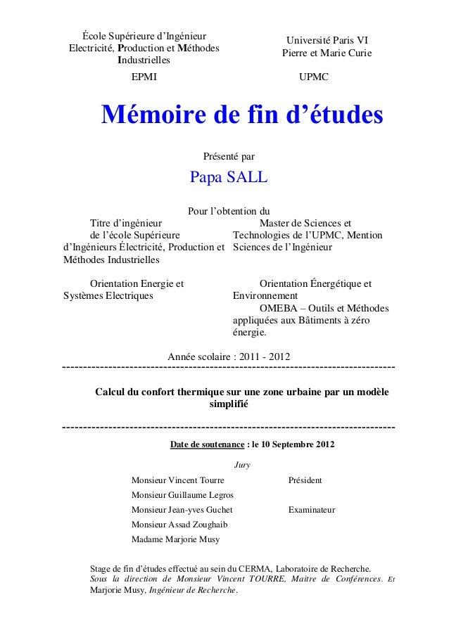 École Supérieure d'Ingénieur                       Université Paris VI Electricité, Production et Méthodes                ...