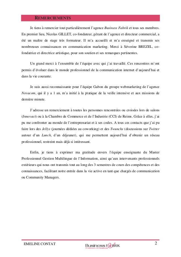 Rapport De Stage De Fin D Etudes Chargee De Communication Chez Busi