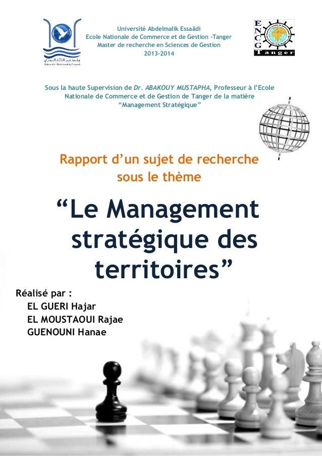 Université Abdelmalik Essaâdi Ecole Nationale de Commerce et de Gestion –Tanger Master de recherche en Sciences de Gestion...