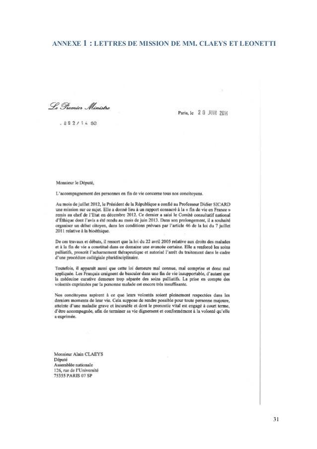 modele de lettre pour non acharnement therapeutique Rapport sur la fin de vie   Alain Claeys et Jean Leonetti   12/2014 modele de lettre pour non acharnement therapeutique