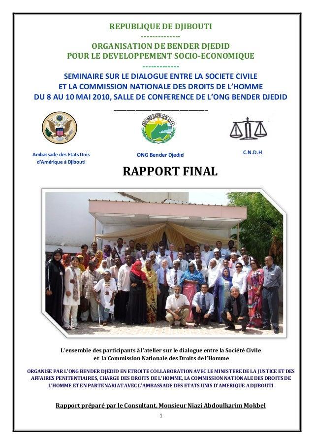 1 REPUBLIQUE DE DJIBOUTI -------------- ORGANISATION DE BENDER DJEDID POUR LE DEVELOPPEMENT SOCIO-ECONOMIQUE -------------...