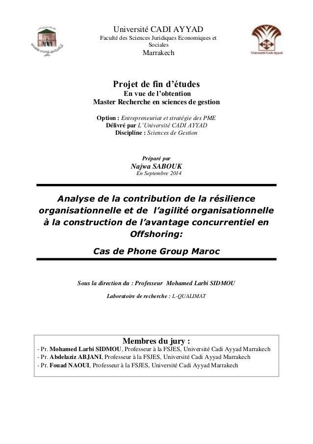 Projet de fin d'études En vue de l'obtention Master Recherche en sciences de gestion Option : Entrepreneuriat et stratégie...