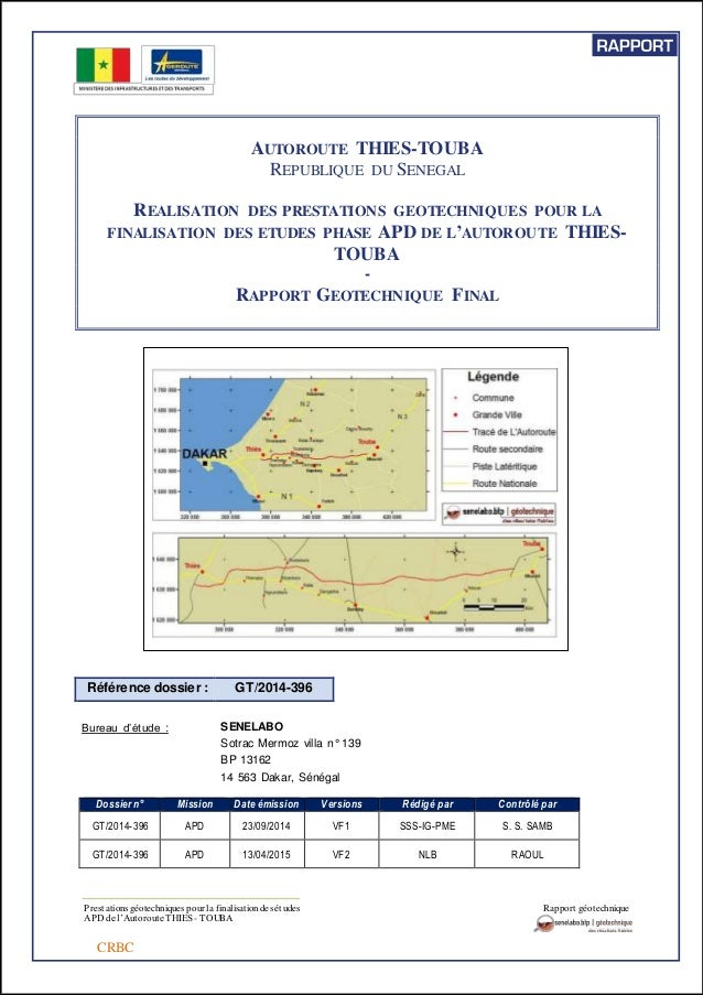 Prestations géotechniques pour la finalisation des études Rapport géotechnique APD de l'Autoroute THIES- TOUBA CRBC AUTORO...