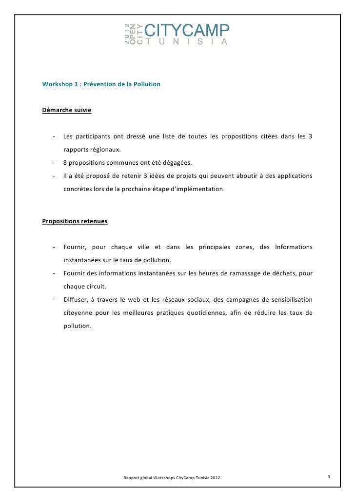 Workshop 1 : Prévention de la PollutionDémarche suivie   -   Les participants ont dressé une liste de toutes les propositi...