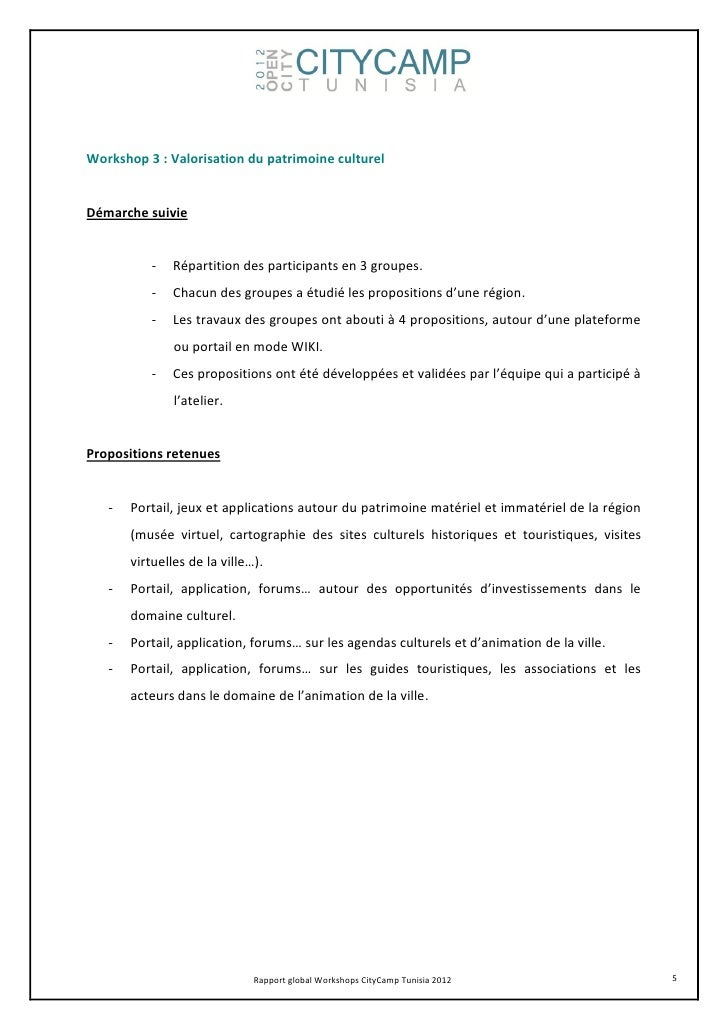 Workshop 3 : Valorisation du patrimoine culturelDémarche suivie           -   Répartition des participants en 3 groupes.  ...