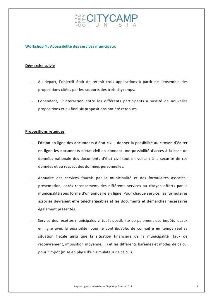Workshop 4 : Accessibilité des services municipauxDémarche suivie   -   Au départ, l'objectif était de retenir trois appli...