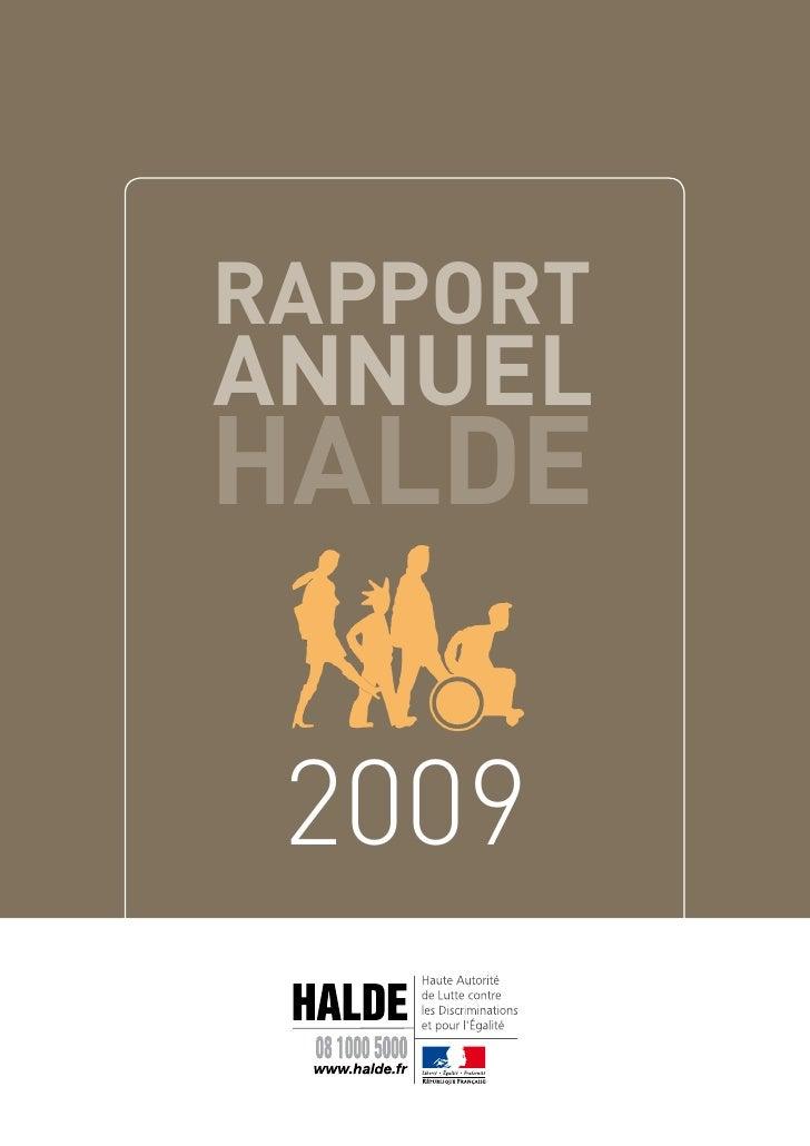 RappoRt annuel HalDe   2009
