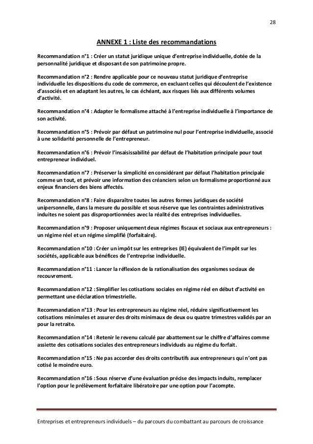 Rapport laurent grandguillaume statut entrepreneur - Statut chambre de commerce ...