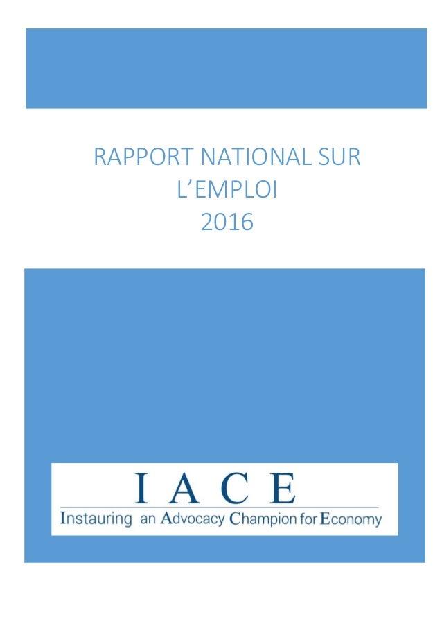 RAPPORT NATIONAL SUR L'EMPLOI 2016