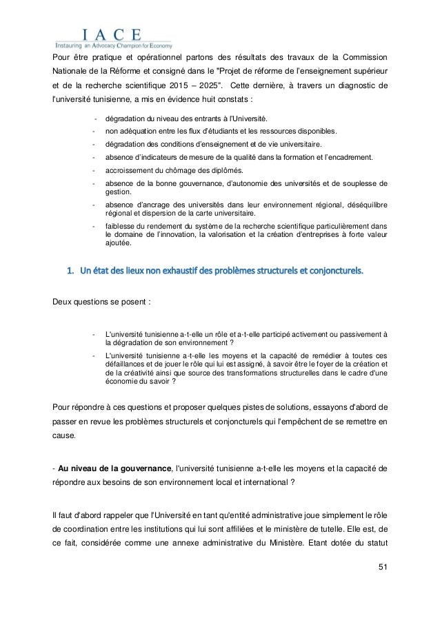 51 Pour être pratique et opérationnel partons des résultats des travaux de la Commission Nationale de la Réforme et consig...