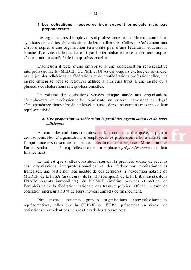 — 33 —  Part des cotisations dans les ressources de diverses organisations d'employeurs et professionnelles françaises, en...