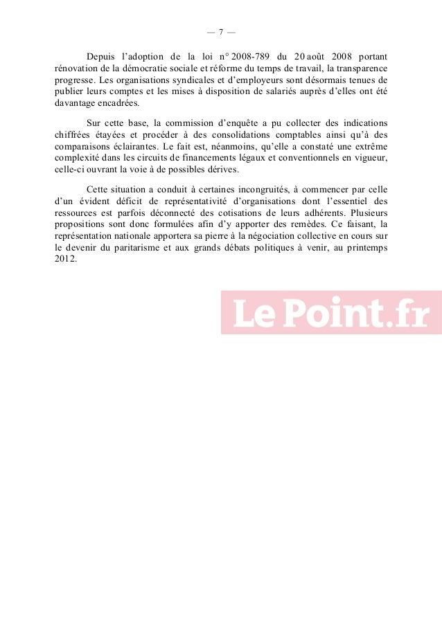 — 7 —  Depuis l'adoption de la loi n° 2008-789 du 20 août 2008 portant rénovation de la démocratie sociale et réforme du t...