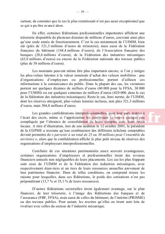 — 40 —  Revenus financiers et patrimoniaux des principales organisations d'employeurs et professionnelles françaises, en 2...