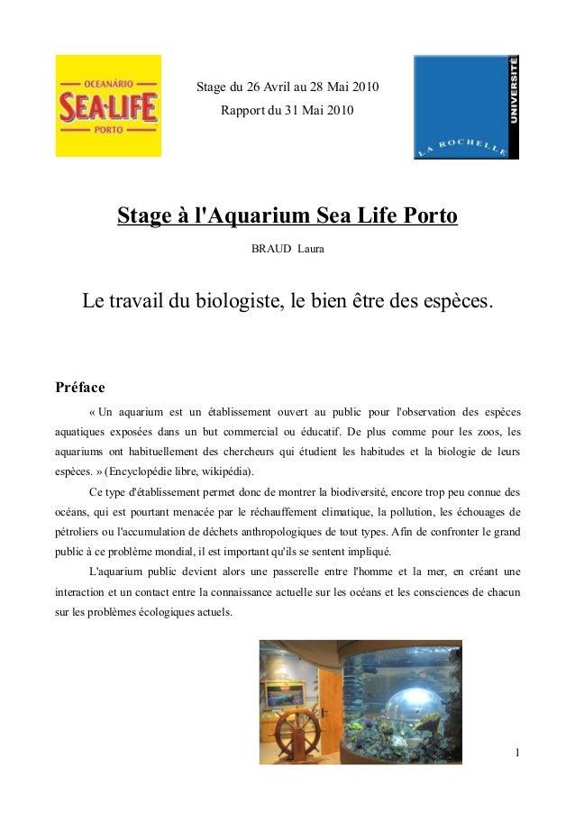 Stage du 26 Avril au 28 Mai 2010                                    Rapport du 31 Mai 2010             Stage à lAquarium S...