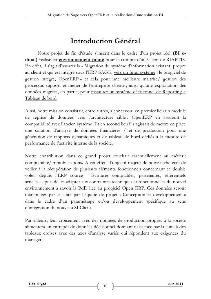 """Migration de Sage vers OpenERP et la réalisation d""""une solution BI                            Introduction Général       N..."""